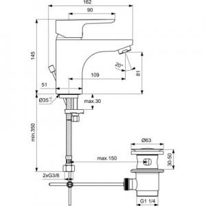 Dane techniczne baterii umywalkowej Ideal Standard Ceraplan III B0773AA-image_Ideal Standard_B0773AA_2