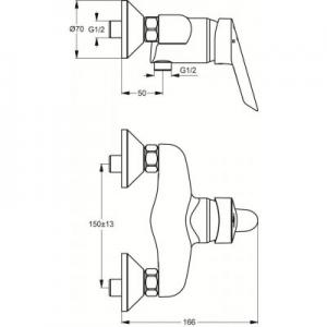 Dane techniczne baterii prysznicowej Ideal Standard Ceraplus B8207AA-image_Ideal Standard_B8207AA_2