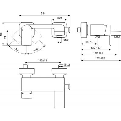Wymiary techniczne baterii IS Edge -image_Ideal Standard_A7121AA_2