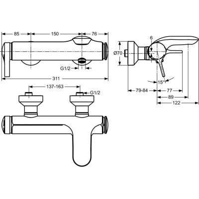 Rysunek techniczny baterii wannowej Melange-image_Ideal Standard_A4271AA_2