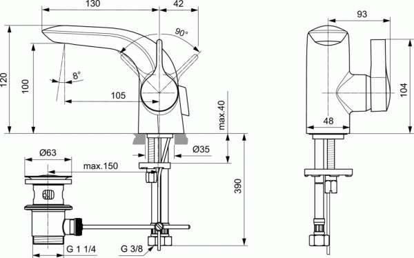 Wymiary techniczne baterii umywalkowej Melange Piccolo-image_Ideal Standard_A6117AA_3