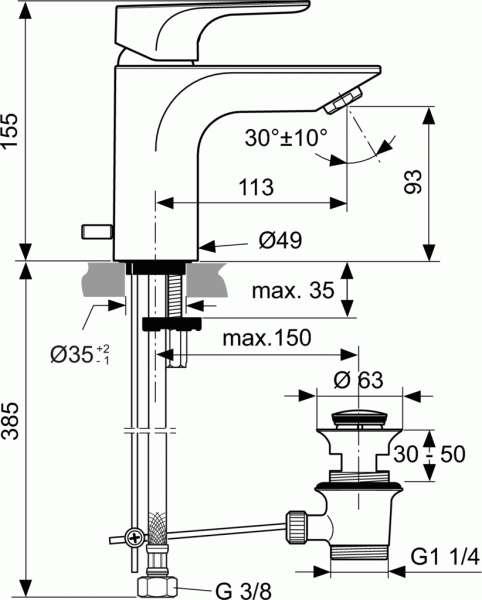 Wymiary techniczne baterii Strada-image_Ideal Standard_A5449AA_3