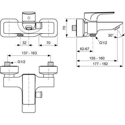 Wymiary techniczne baterii wannowej Strada -image_Ideal Standard_A5848AA_2