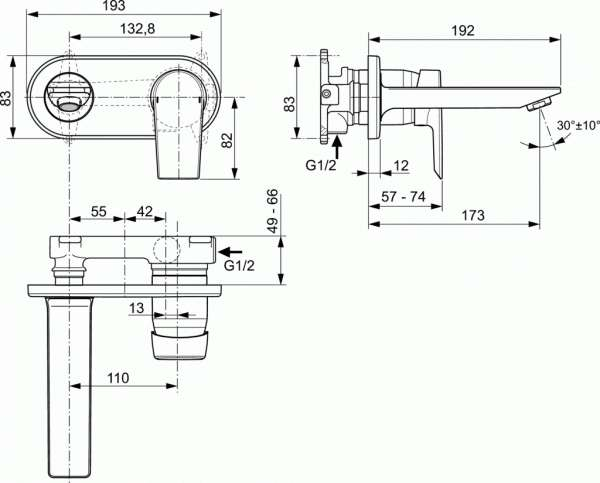Wymiary techniczne baterii Tesi A6578AA-image_Ideal Standard_A6578AA_2