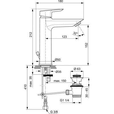 Wymiary techniczne baterii umywalkowej Tesi Grande-image_Ideal Standard_A6563AA_2