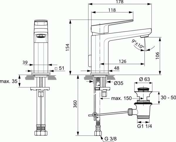 Wymiary techniczne baterii umywalkowej Tonic II-image_Ideal Standard_A6326AA_3