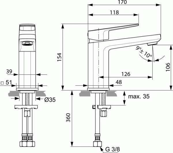 Wymiary techniczne baterii umywalkowej Tonic II-image_Ideal Standard_A6327AA_3