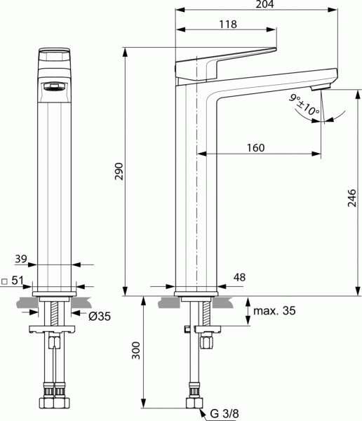 Wymiary techniczne wysokiej baterii Tonic II-image_Ideal Standard_A6329AA_3