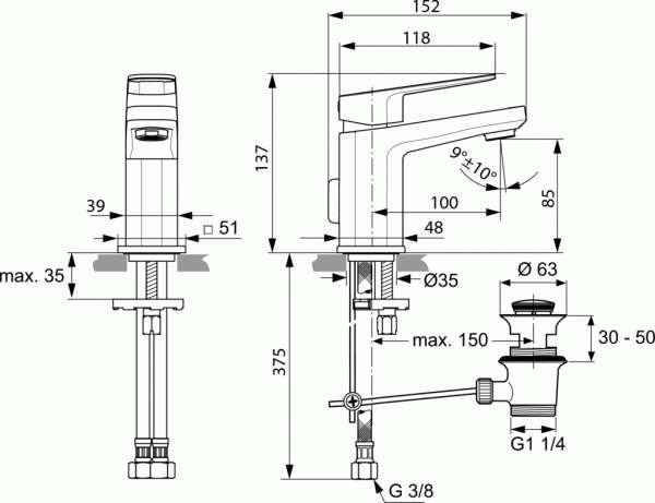 Wymiary techniczne baterii umywalkowej Tonic II Piccolo-image_Ideal Standard_A6330AA_3