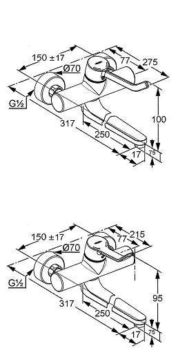 Wymiary techniczne bateri kludi Provita-image_Kludi_335360500_3