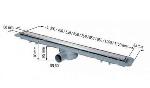 Wymiary techniczne odpływu liniowego Kessel 45600.61-image_Kessel_45600.61_4