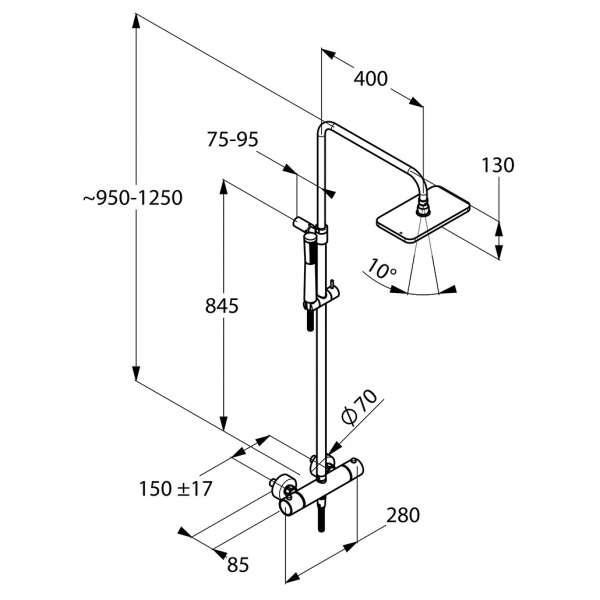 Wymiary techniczne Kludi A-QA Dual Shower System 490950500-image_Kludi_4909505-00_3