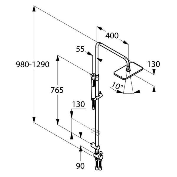 Wymiary techniczne Kludi A-QA Dual Shower System 4919105-00 do kompletowania z dowolną baterią prysznicową.-image_Kludi_4919105-00_3