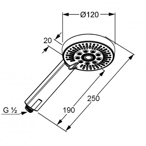 Rysunek techniczny rączki natrysku Kludi A-QAs 6570005 -image_Kludi_6570005-00_2