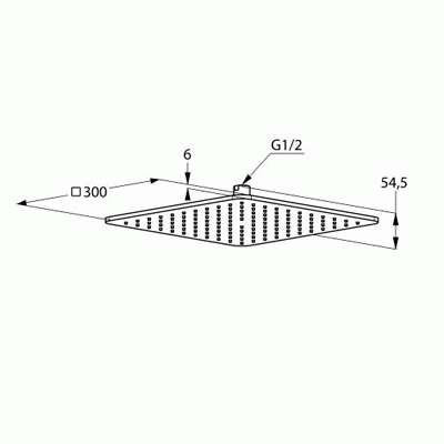 Wymiary techniczne deszczownicy kwadratowej Kludi A-QA 6453005-00-image_Kludi_6453005-00_3