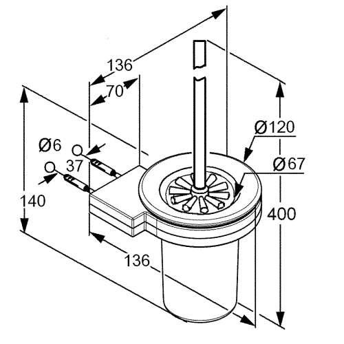 Rysunek techniczny szczotki wc Kludi A-xes 4897405-image_Kludi_4897405_3