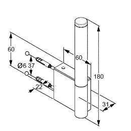 Rysunek techniczny uchwytu na zapas papieru Kludi A-xes 4897205 -image_Kludi_4897205_3