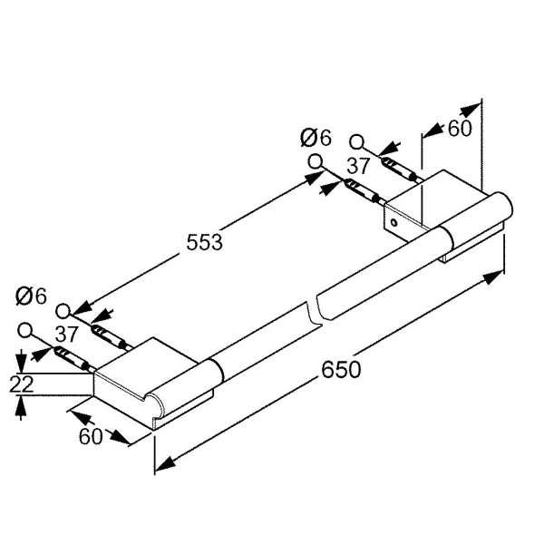 Rysunek techniczny wieszaka na ręcznik Kludi A-xes 4898005 -image_Kludi_4898005_3