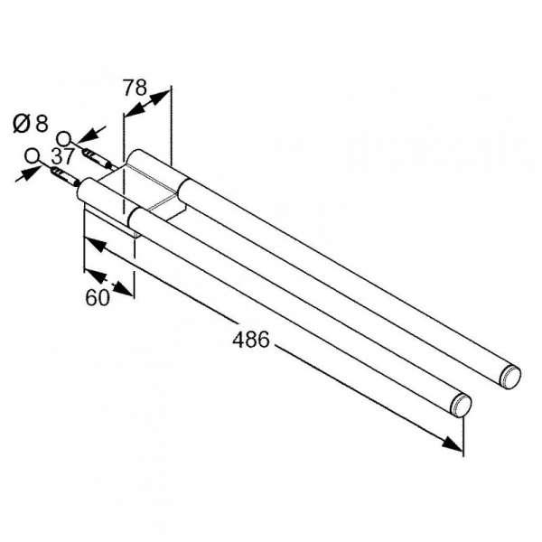 Rysunek techniczy wieszaka dwuramiennego Kludi A-xes 4897705 -image_Kludi_4897705_3