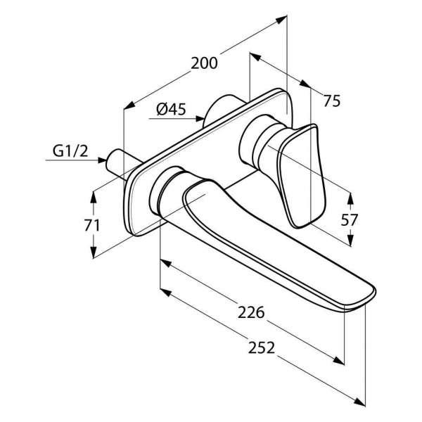 Wymiary umywalkowej baterii podtynkowej Kludi Ambienta 532450575-image_Kludi_532450575_3