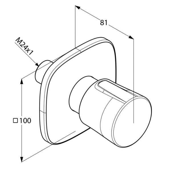 Wymiary techniczne przełącznika dwukierunkowego Kludi Ambienta 538470575-image_Kludi_538470575_3