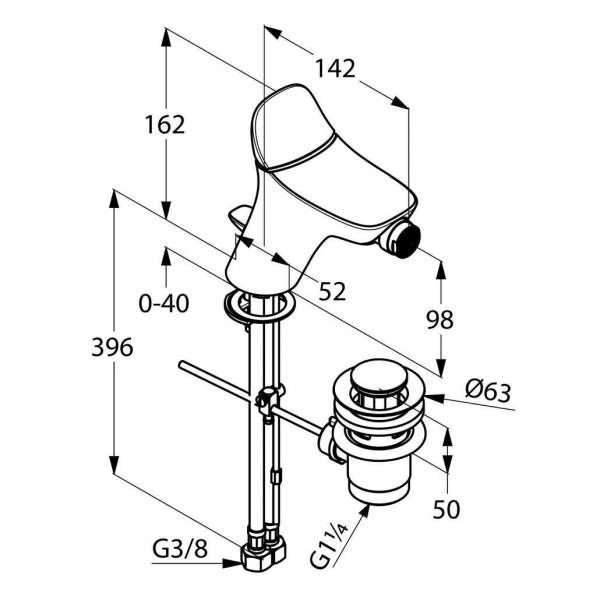 Wymiary techniczne baterii bidetowej Kludi Ambienta 532160575-image_Kludi_532160575_4