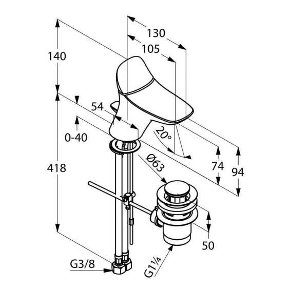 Rysunek techniczny baterii umywalkowej Kludi Ambienta 520290575-image_Kludi_530290575_3