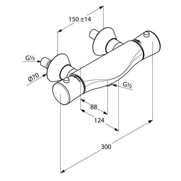 Wymiary termostatycznej baterii prysznicowej Kludi Ambienta 534000538-image_Kludi_ 534000538_3