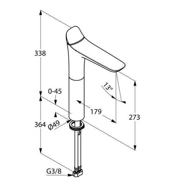 Wymiary techniczne baterii umywalkowej Kludi Ambienta 532980575-image_Kludi_532980575_3