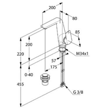 Rysunek techniczny baterii do umywalki kludi ameo 410250575-image_Kludi_410250575_3