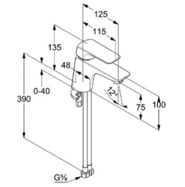 Wymiary techniczne niskiej baterii kludi ameo-image_Kludi_410280575_3