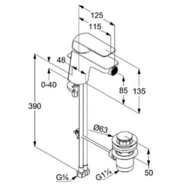 Wymiary techniczne baterii bidetowej ameo 412160575-image_Kludi_412160575_6