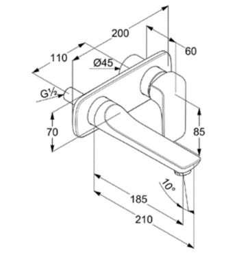 Wymiary techniczne krótkiej baterii umywalkowej Kludi Ameo-image_Kludi_412440575_4