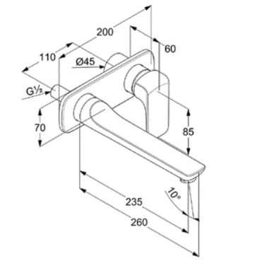 Wymiary techniczne długiej podtynkowej bateri umywalkowej Ameo 412450575-image_Kludi_412450575_3