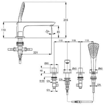 Wymiary techniczne baterii wannowej wielootworowej 414240530-image_Kludi_414240530_4