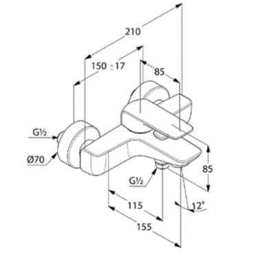 Rysunek techniczny sciennej baterii wannowej 414450575-image_Kludi_414450575_3