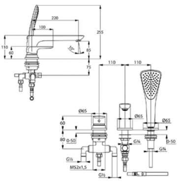 Rysunek techniczny baterii wannowo-natryskowej Kludi Ameo 414470575-image_Kludi_414470575_4