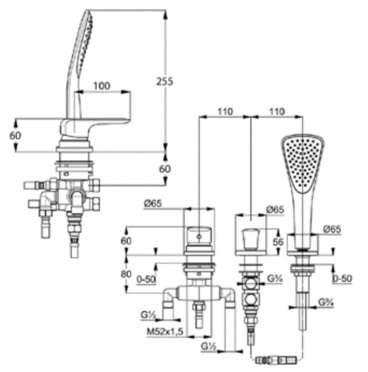 Wymiary techniczne baterii Kludi Ameo 414480575-image_Kludi_414480575_3