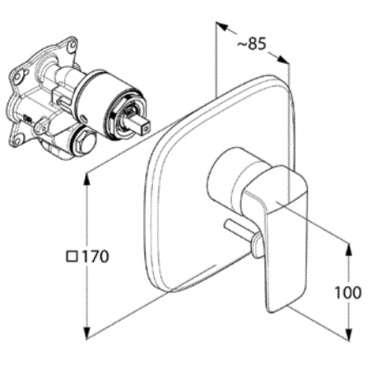 Wymiary techniczne baterii wannowej podtynkowej 416500575-image_Kludi_416500575_3