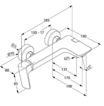Wymiary techniczne baterii wannowej Ameo-image_Kludi_416710575_3