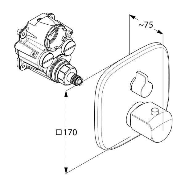 wymiary techniczne baterii termostatycznej Ameo 418350575-image_Kludi_418350575_4