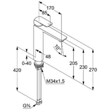 Wymiary techniczne baterii umywalkowej Ameo 412960575-image_Kludi_412960575_5