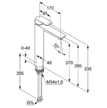 Schemat techniczny baterii Kludi Ameo 412980575-image_Kludi_412980575_4