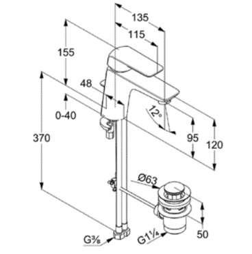 Wymiary techniczne jednouchwytowej baterii Kludi Ameo 410230575-image_Kludi_410230575_6