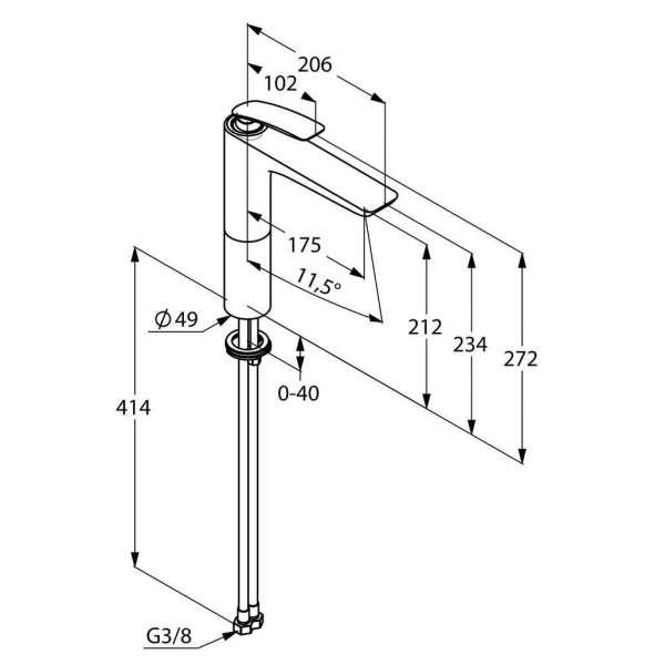 Wymiary techniczne baterii umywalkowej Kludi Balance 522969175 w wersji białej.-image_Kludi_ 522969175_3