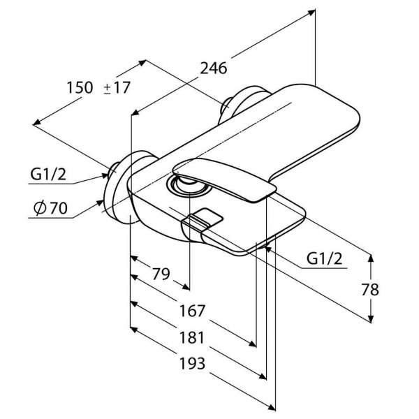 Wymiary techniczne ściennej baterii wannowej Kludi Balance 52 445 91 75-image_Kludi_524459175_4