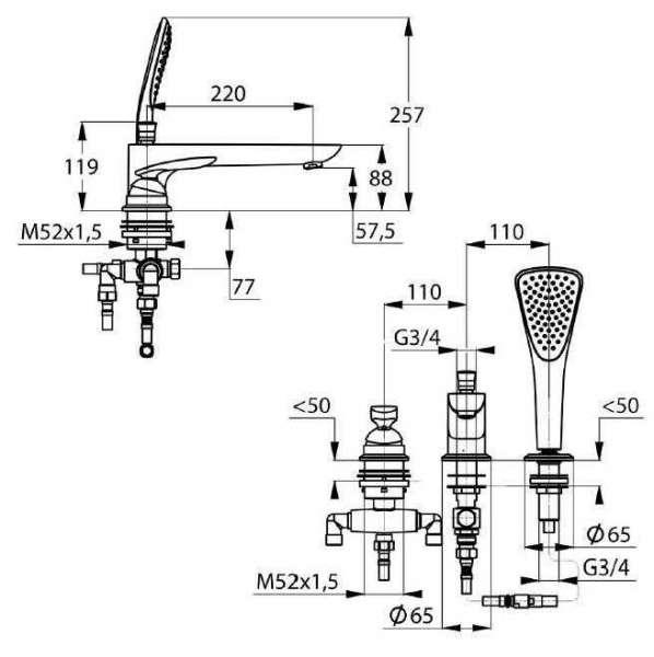 Wymiary techniczne baterii 3-otworowej Kludi Balance 524470575-image_Kludi_524470575_3