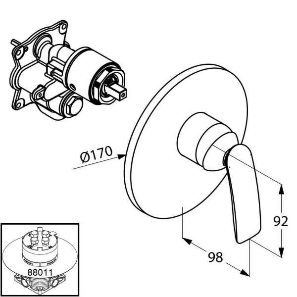 Wymiary techniczne podtynkowej baterii prysznicowej Kludi Balance 526550575-image_Kludi_526550575_3