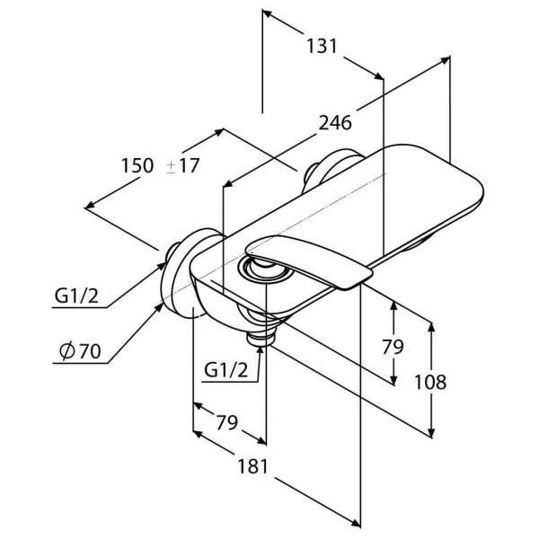 Wymiary techniczne ściennej baterii prysznicowej Kludi Balance 527109175-image_Kludi_527109175_3