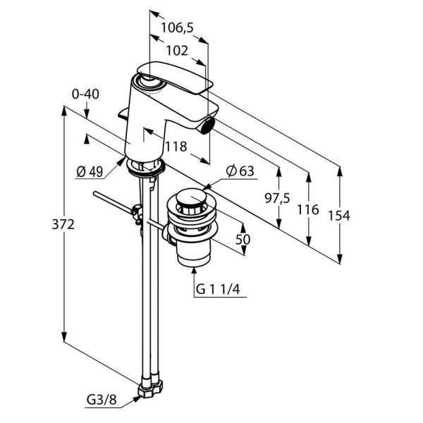 Wymiary techniczne baterii bidetowej Kludi Balance 522169175-image_Kludi_522169175_3